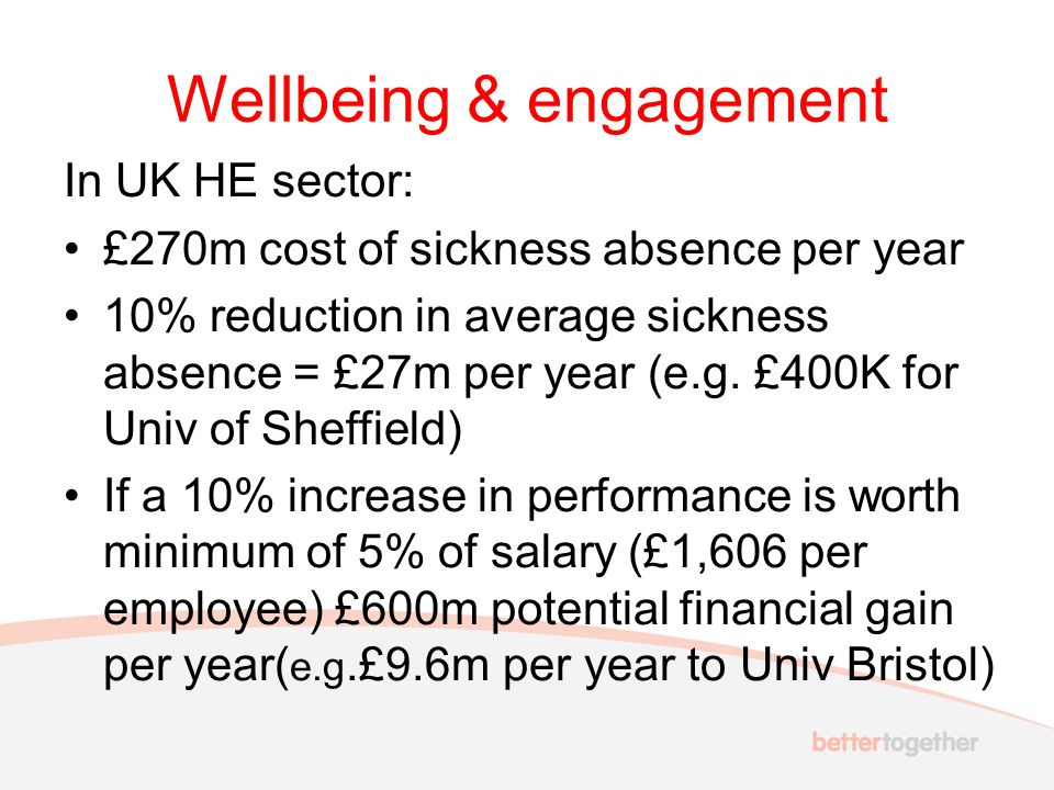 Wellbeing & engagement In UK HE sector: £270m cost of sickness absence per year 10% reduction in average sickness absence = £27m per year (e.g.