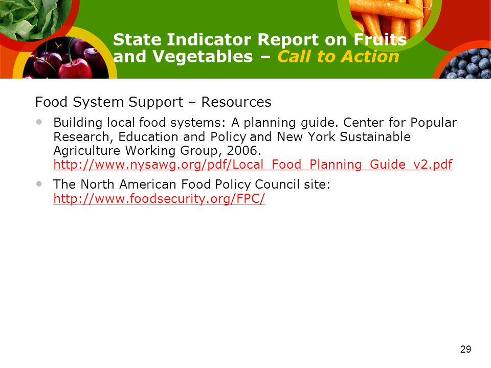 Food System Support – Resources Building local food systems: A planning guide.