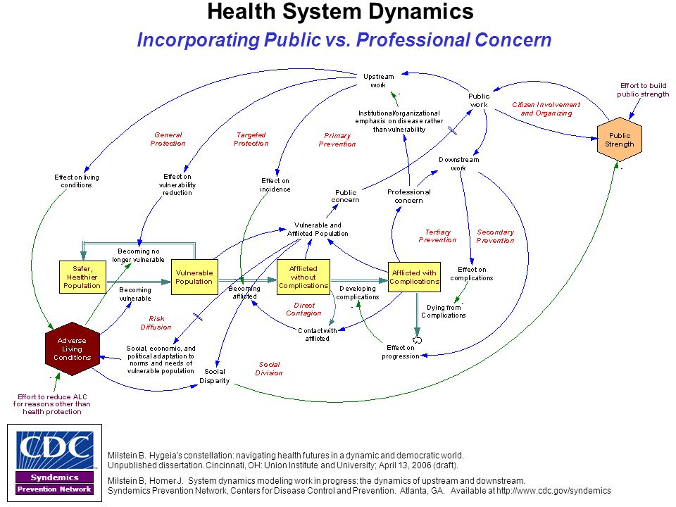 Syndemics Prevention Network Health System Dynamics Incorporating Public vs. Professional Concern Milstein B. Hygeia's constellation: navigating healt