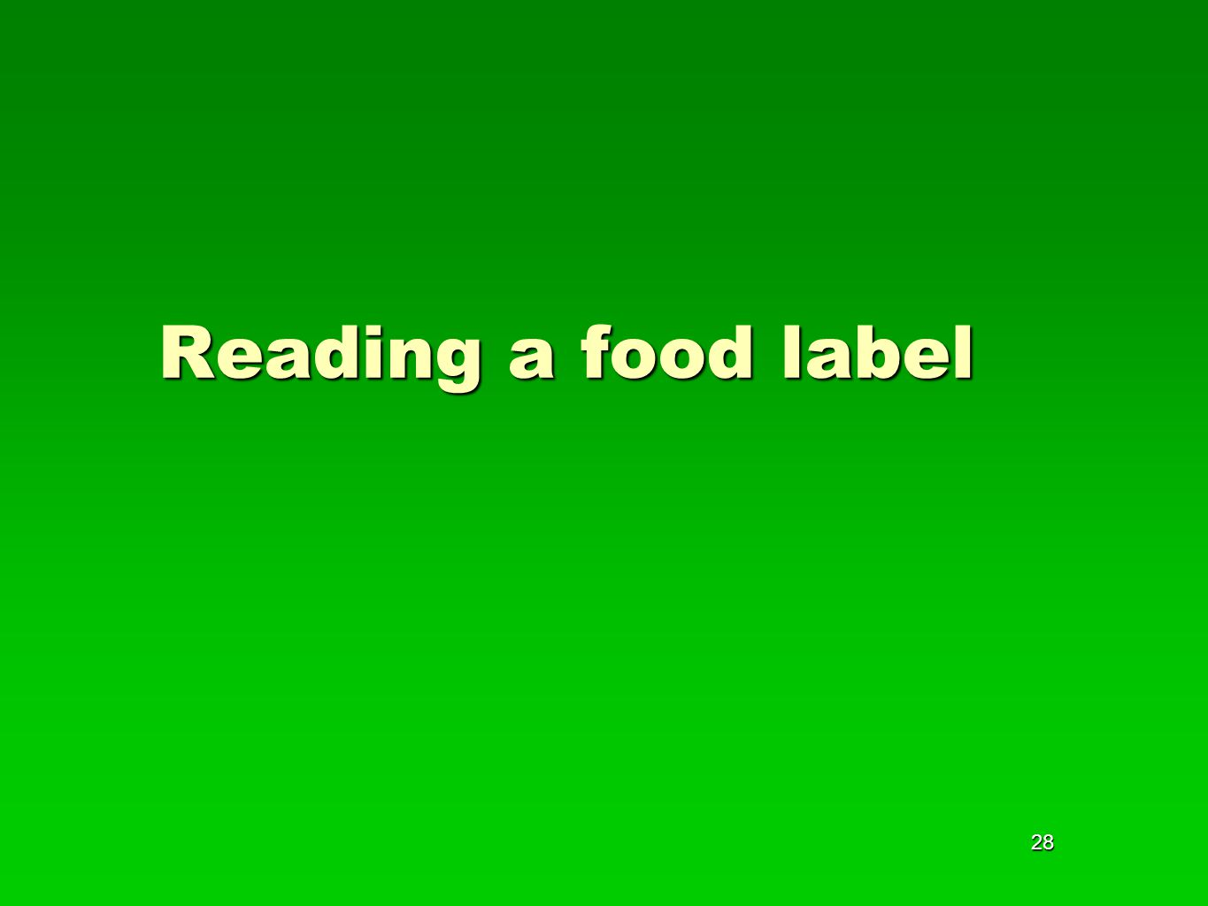 28 Reading a food label