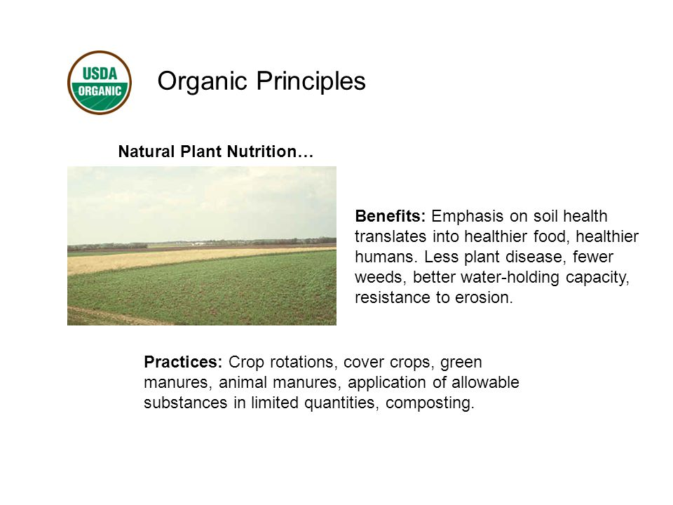 Organic Principles Natural Plant Nutrition… Benefits: Emphasis on soil health translates into healthier food, healthier humans.