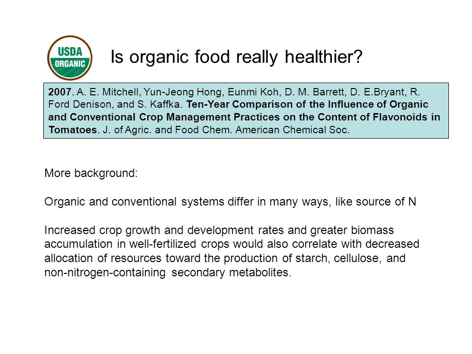 Is organic food really healthier. 2007. A. E. Mitchell, Yun-Jeong Hong, Eunmi Koh, D.