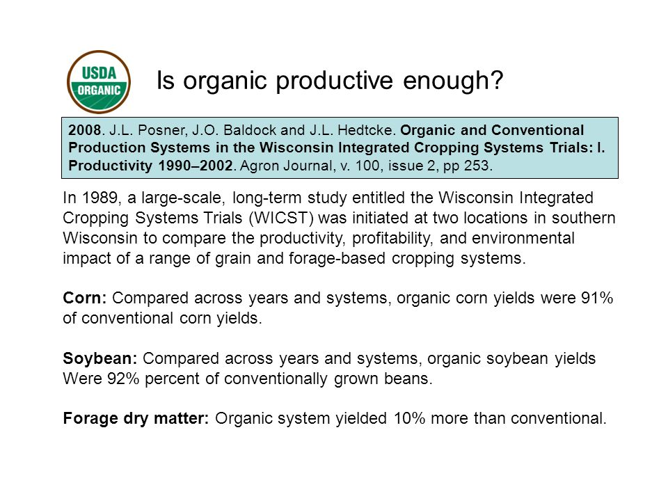 Is organic productive enough. 2008. J.L. Posner, J.O.