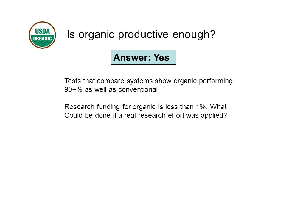 Is organic productive enough.
