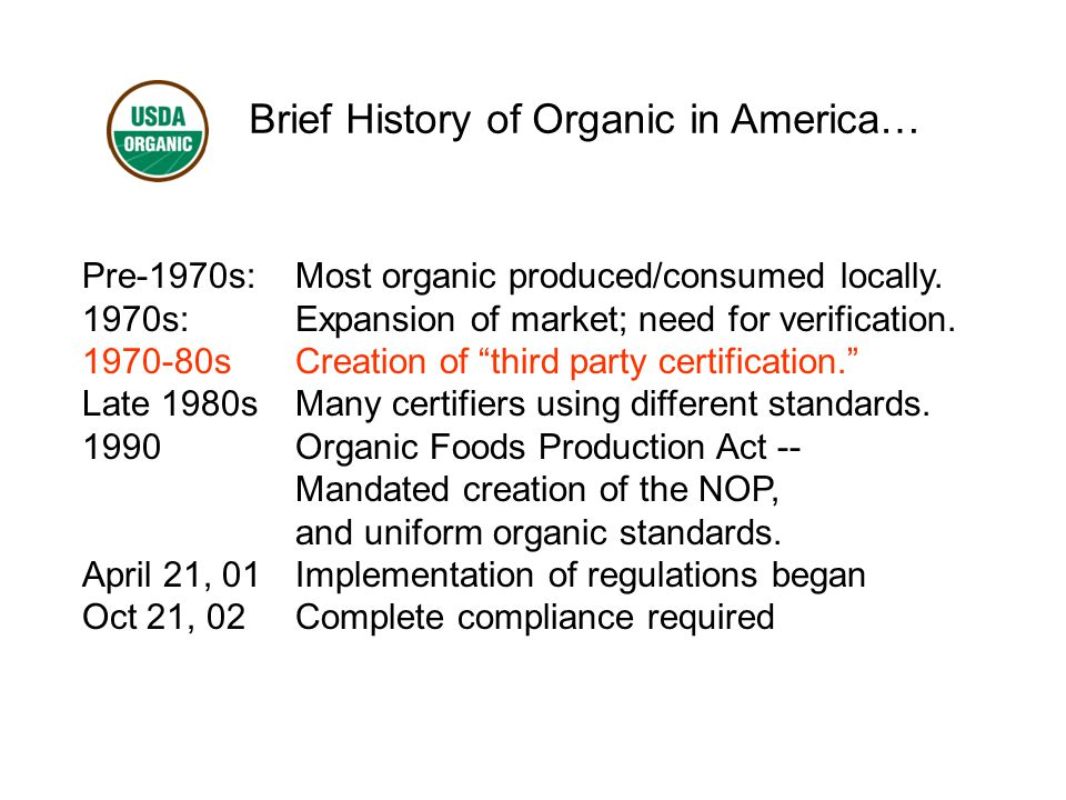 Brief History of Organic in America… Pre-1970s:Most organic produced/consumed locally.