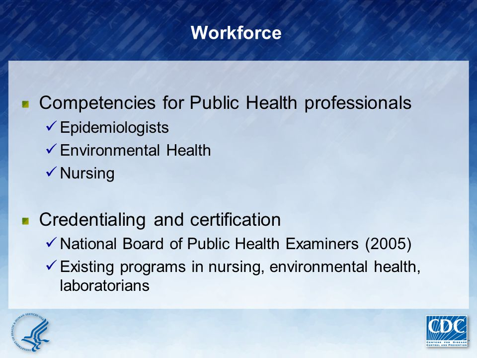 Competencies for Public Health professionals Epidemiologists Environmental Health Nursing Credentialing and certification National Board of Public Hea