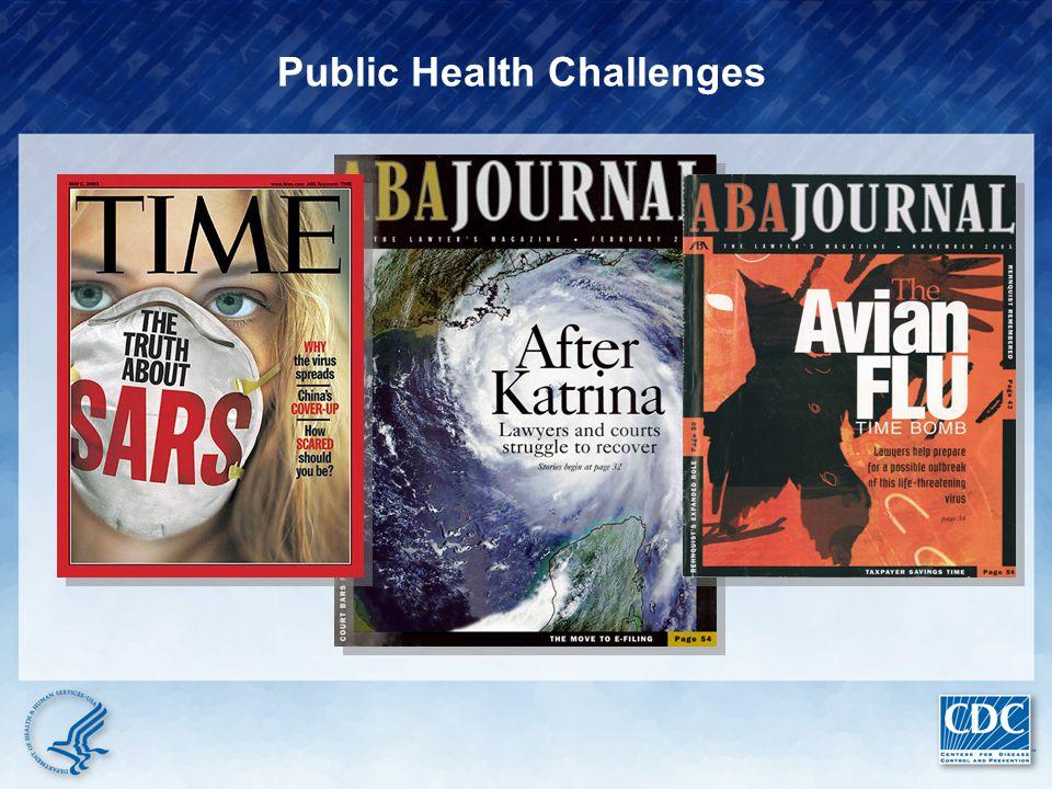 Emerging Diseases (SARS, Pandemic Flu) Re-emerging Diseases (XDR-TB) Food Safety Bioterrorism Natural Disasters Obesity Aging Population Health Disparities Global Warming
