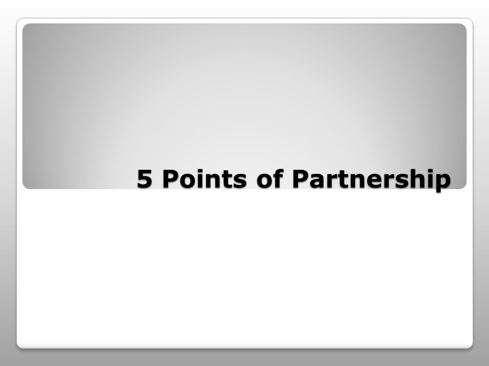 5 Points of Partnership