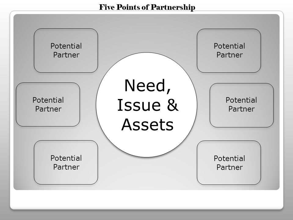Need, Issue & Assets Potential Partner Five Points of Partnership
