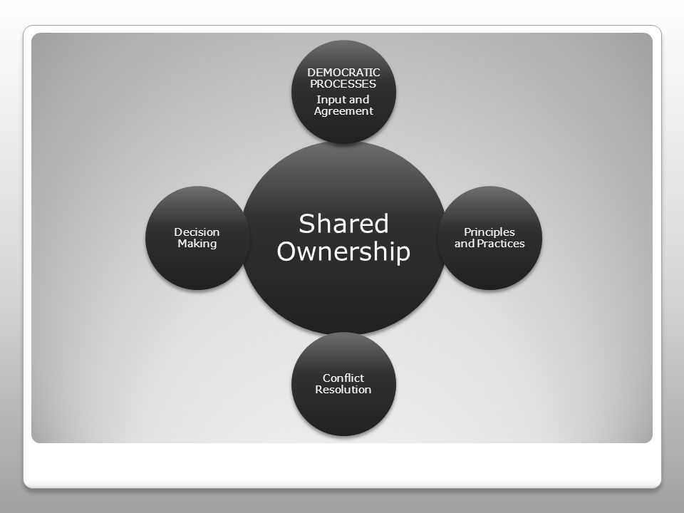 Shared Ownership DEMOCRATIC PROCESSES Input and Agreement Principles and Practices Conflict Resolution Decision Making