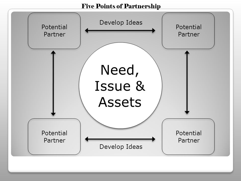 Need, Issue & Assets Potential Partner Develop Ideas Five Points of Partnership