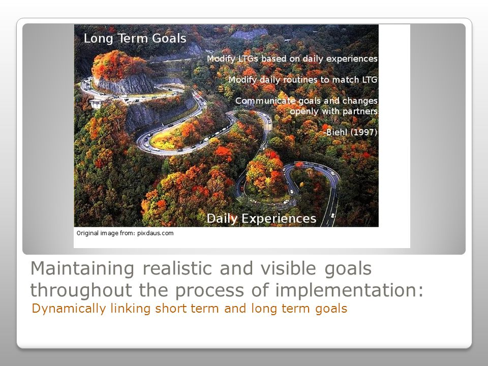 Maintaining realistic and visible goals throughout the process of implementation: Dynamically linking short term and long term goals