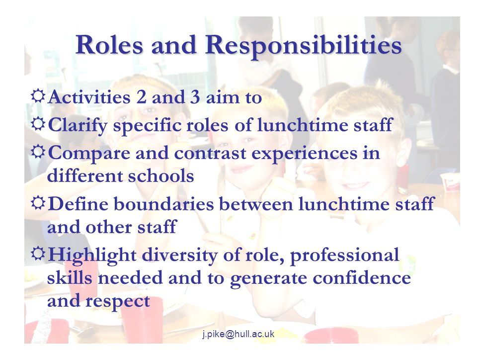 Roles and Responsibilities  Activities 2 and 3 aim to  Clarify specific roles of lunchtime staff  Compare and contrast experiences in different schools  Define boundaries between lunchtime staff and other staff  Highlight diversity of role, professional skills needed and to generate confidence and respect