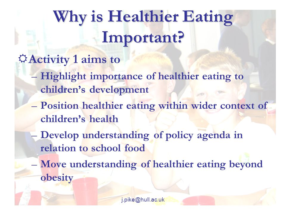 j.pike@hull.ac.uk Why is Healthier Eating Important.