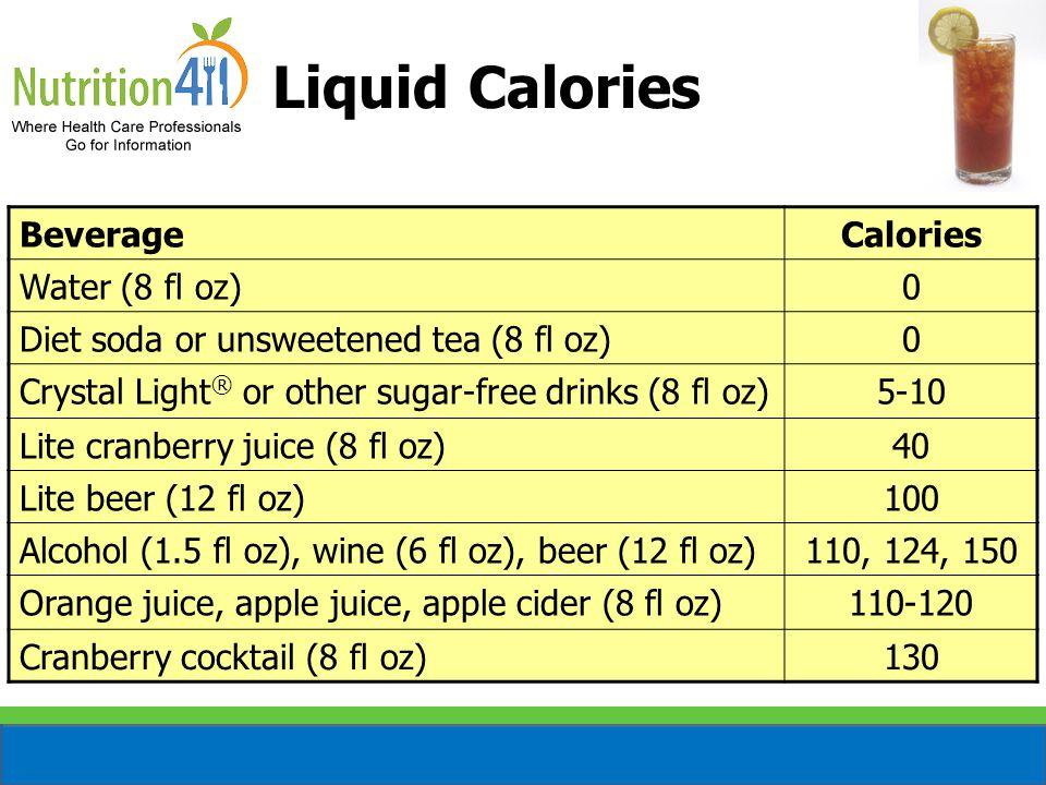 Liquid Calories BeverageCalories Water (8 fl oz)0 Diet soda or unsweetened tea (8 fl oz)0 Crystal Light ® or other sugar-free drinks (8 fl oz)5-10 Lite cranberry juice (8 fl oz)40 Lite beer (12 fl oz)100 Alcohol (1.5 fl oz), wine (6 fl oz), beer (12 fl oz)110, 124, 150 Orange juice, apple juice, apple cider (8 fl oz)110-120 Cranberry cocktail (8 fl oz)130
