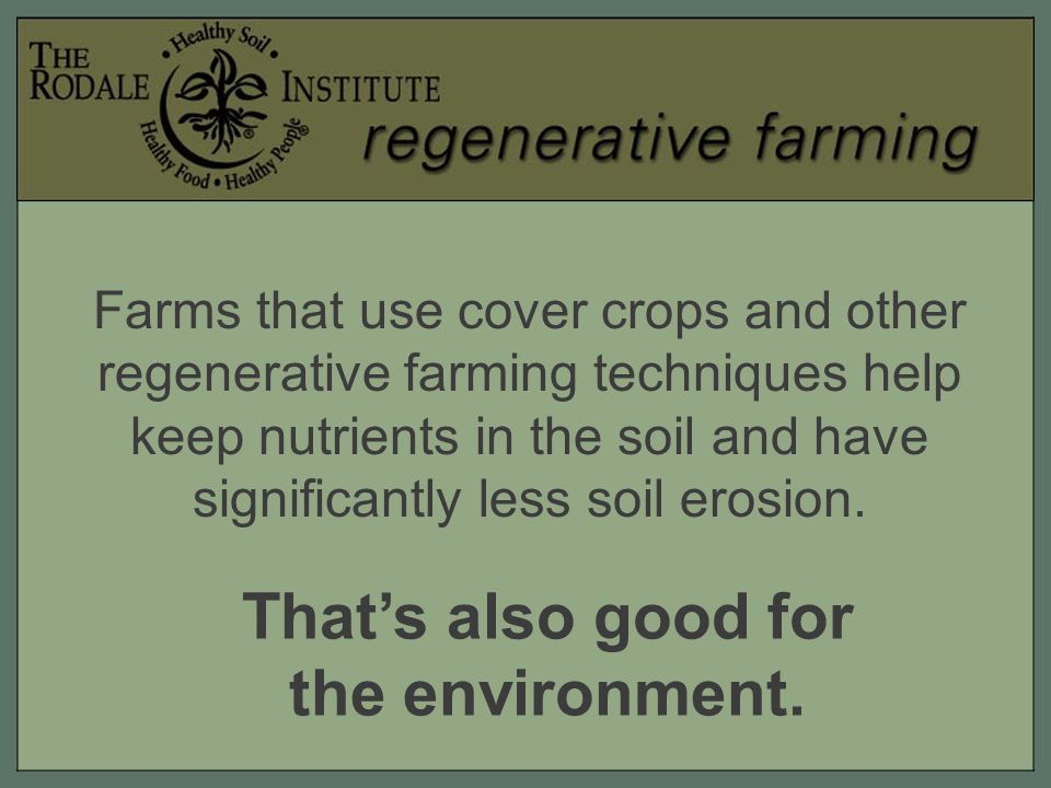 Farms that use cover crops and other regenerative farming techniques help keep nutrients in the soil and have significantly less soil erosion.