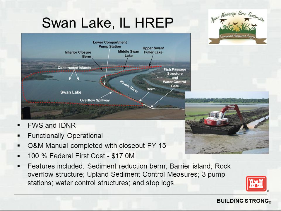 BUILDING STRONG ® Swan Lake, IL HREP  FWS and IDNR  Functionally Operational  O&M Manual completed with closeout FY 15  100 % Federal First Cost - $17.0M  Features included: Sediment reduction berm; Barrier island; Rock overflow structure; Upland Sediment Control Measures; 3 pump stations; water control structures; and stop logs.