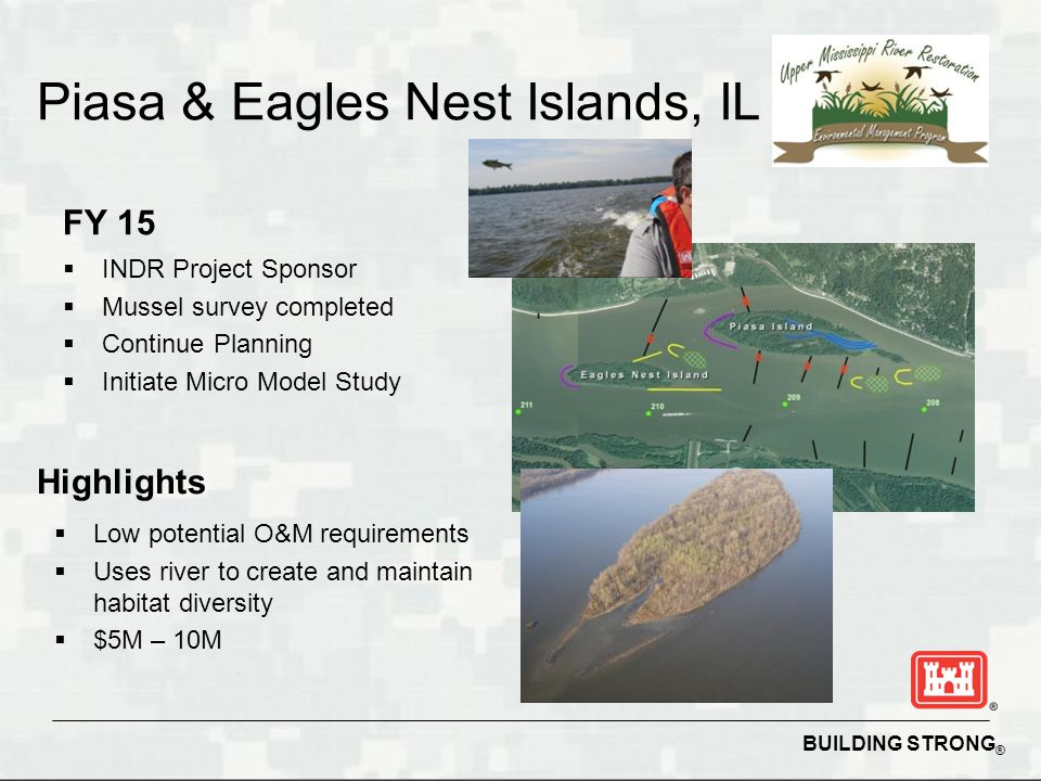 BUILDING STRONG ® Piasa & Eagles Nest Islands, IL FY 15  INDR Project Sponsor  Mussel survey completed  Continue Planning  Initiate Micro Model Study Highlights  Low potential O&M requirements  Uses river to create and maintain habitat diversity  $5M – 10M