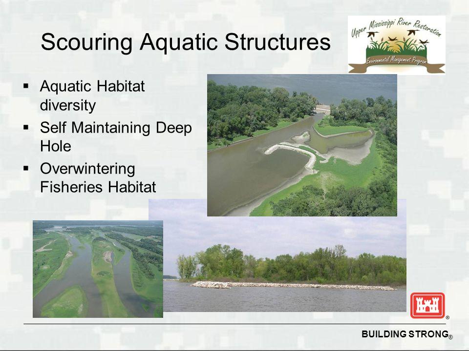 BUILDING STRONG ® Scouring Aquatic Structures  Aquatic Habitat diversity  Self Maintaining Deep Hole  Overwintering Fisheries Habitat