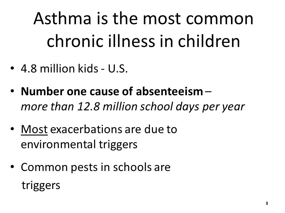 Asthma is the most common chronic illness in children 4.8 million kids - U.S.