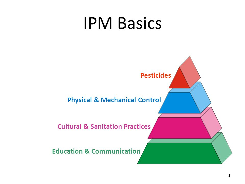 IPM Basics Pesticides Physical & Mechanical Control Cultural & Sanitation Practices Education & Communication 8
