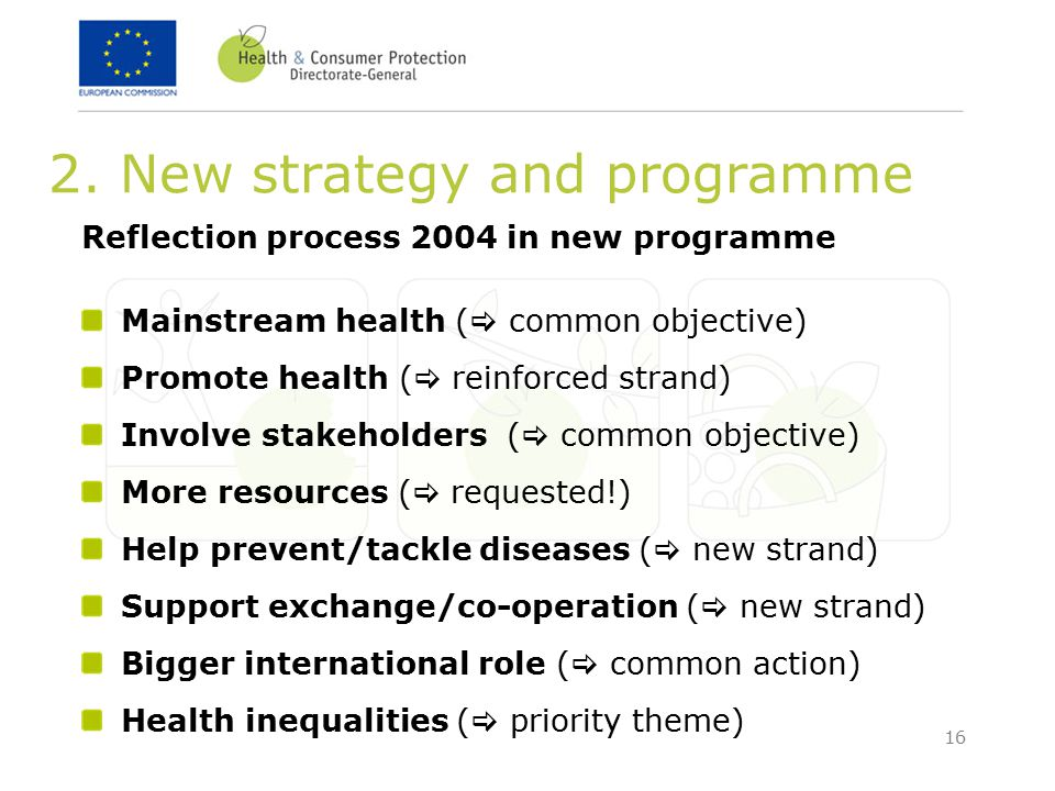 16 2. New strategy and programme Reflection process 2004 in new programme Mainstream health (  common objective) Promote health (  reinforced strand