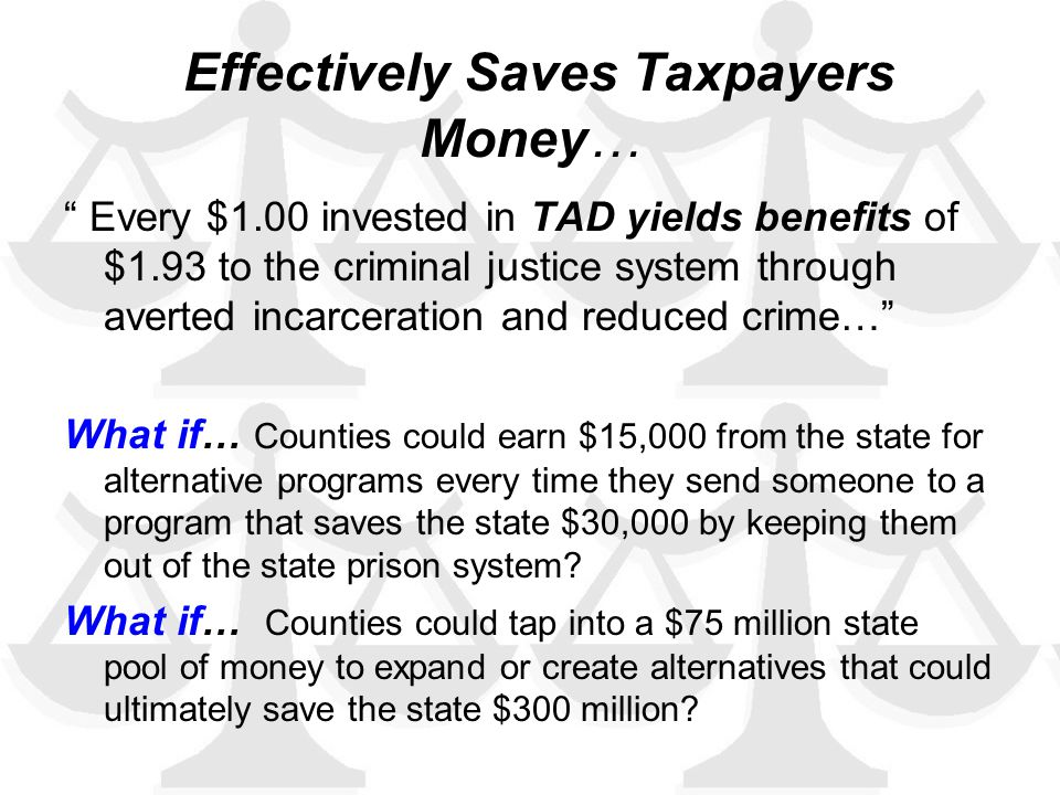 Effectively Saves Taxpayers Money… Every $1.00 invested in TAD yields benefits of $1.93 to the criminal justice system through averted incarceration and reduced crime… What if… Counties could earn $15,000 from the state for alternative programs every time they send someone to a program that saves the state $30,000 by keeping them out of the state prison system.