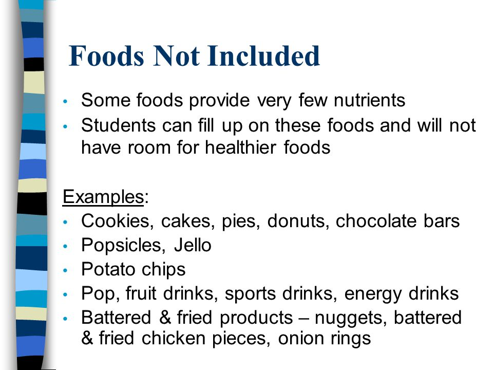 Foods Not Included Some foods provide very few nutrients Students can fill up on these foods and will not have room for healthier foods Examples: Cookies, cakes, pies, donuts, chocolate bars Popsicles, Jello Potato chips Pop, fruit drinks, sports drinks, energy drinks Battered & fried products – nuggets, battered & fried chicken pieces, onion rings