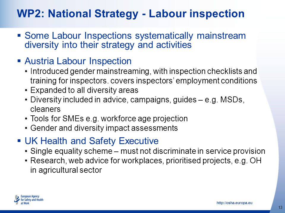 http://osha.europa.eu 13 WP2: National Strategy - Labour inspection  Some Labour Inspections systematically mainstream diversity into their strategy and activities  Austria Labour Inspection Introduced gender mainstreaming, with inspection checklists and training for inspectors.
