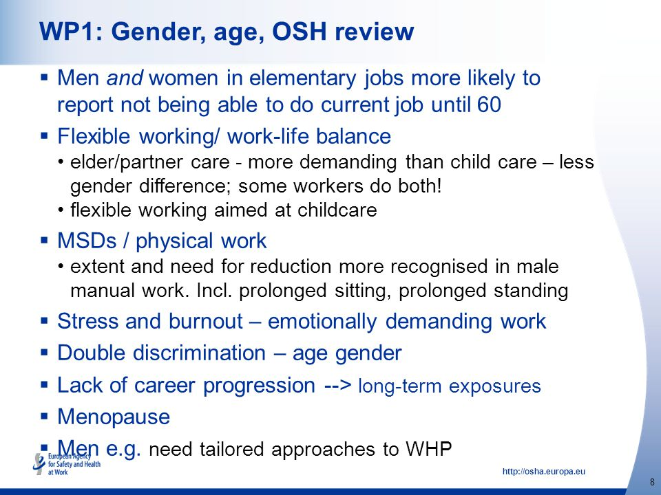 http://osha.europa.eu 8 WP1: Gender, age, OSH review  Men and women in elementary jobs more likely to report not being able to do current job until 60  Flexible working/ work-life balance elder/partner care - more demanding than child care – less gender difference; some workers do both.