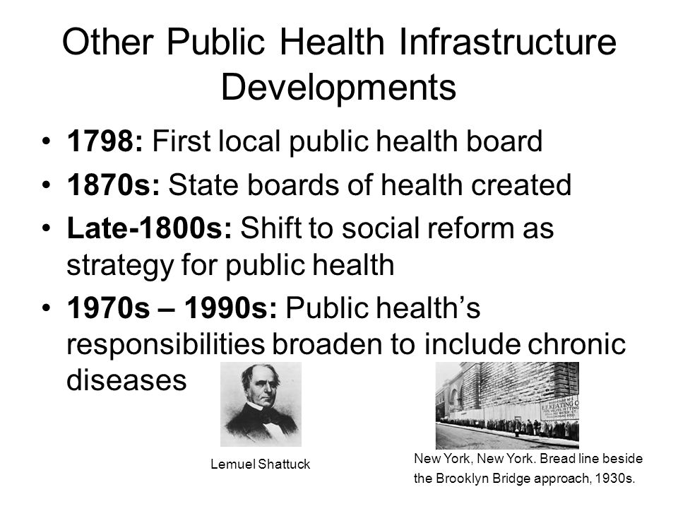 Other Public Health Infrastructure Developments 1798: First local public health board 1870s: State boards of health created Late-1800s: Shift to social reform as strategy for public health 1970s – 1990s: Public health's responsibilities broaden to include chronic diseases Lemuel Shattuck New York, New York.