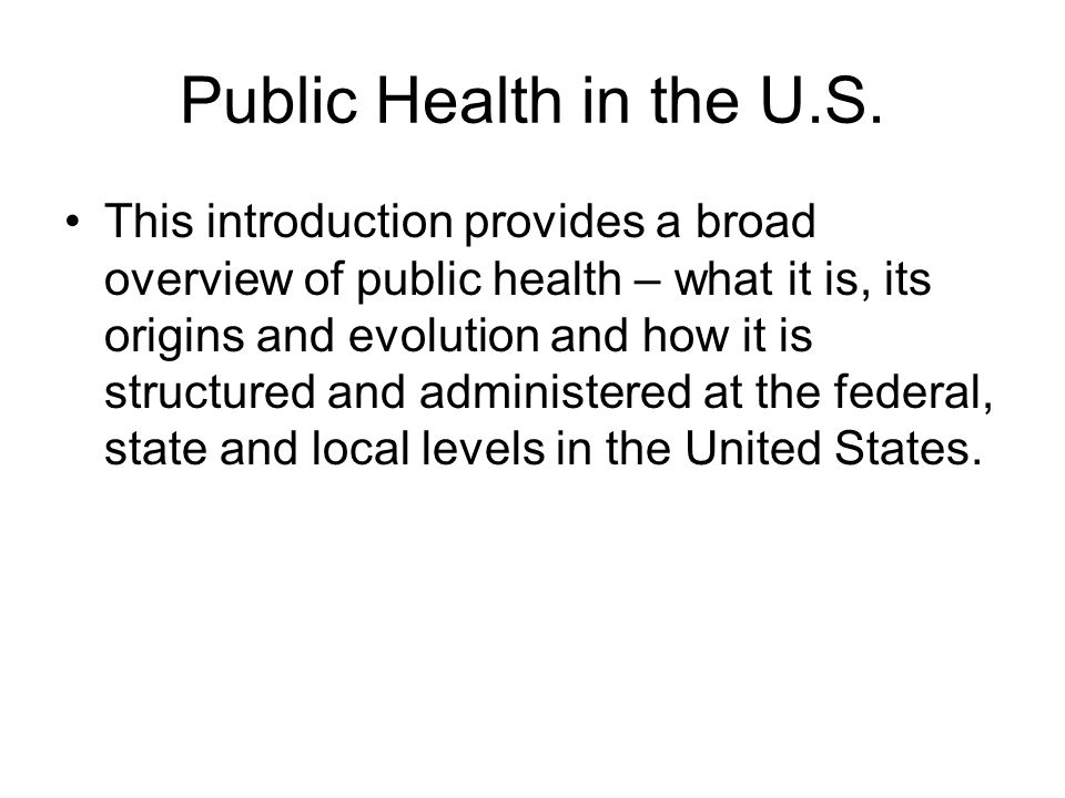 Public Health in the U.S.