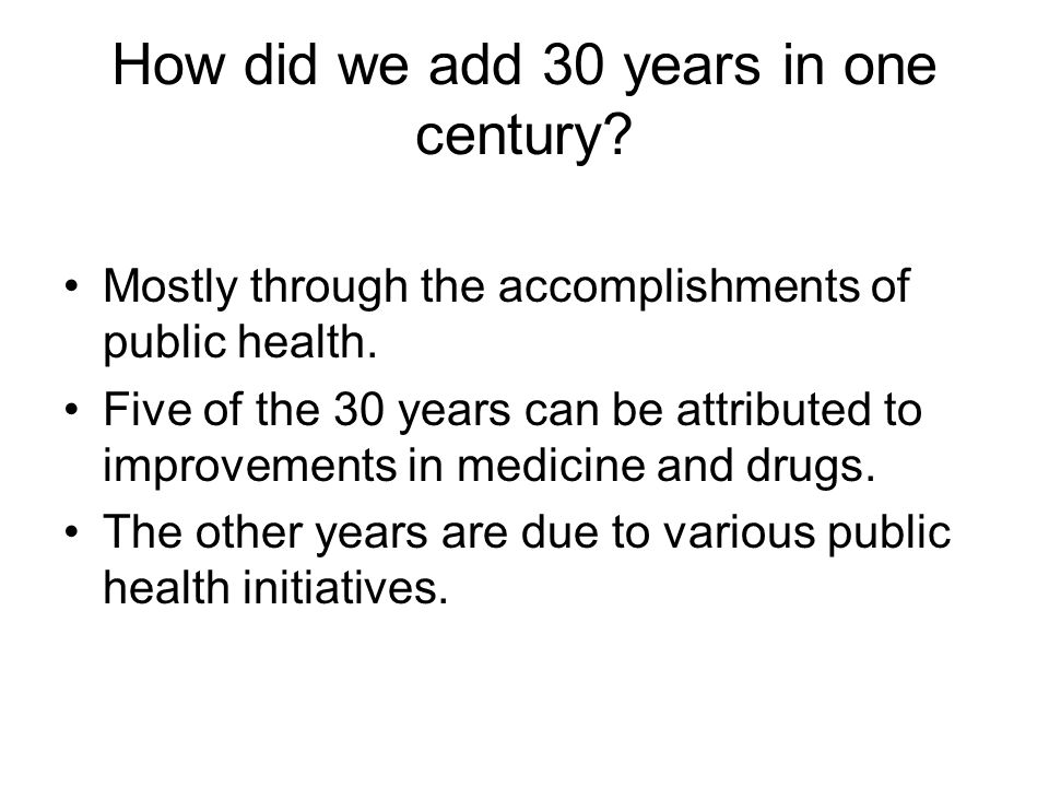 Contributions to Increase Life Expectancy