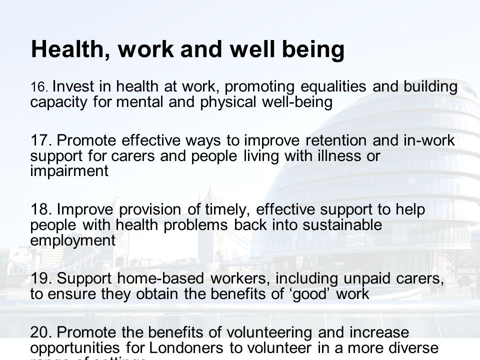 Health, work and well being 16.