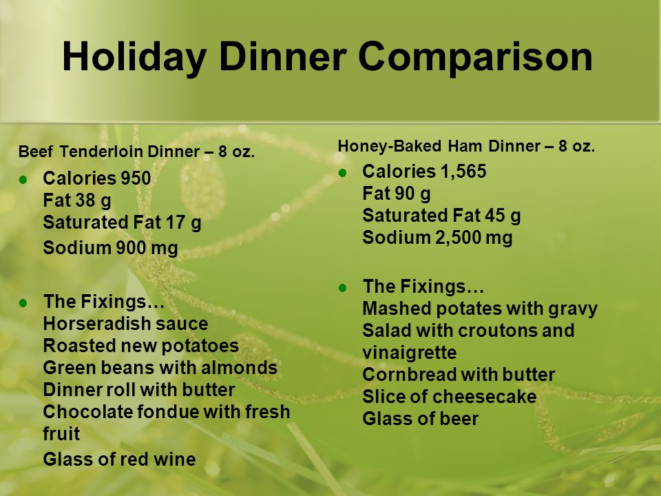 Holiday Dinner Comparison Beef Tenderloin Dinner – 8 oz.