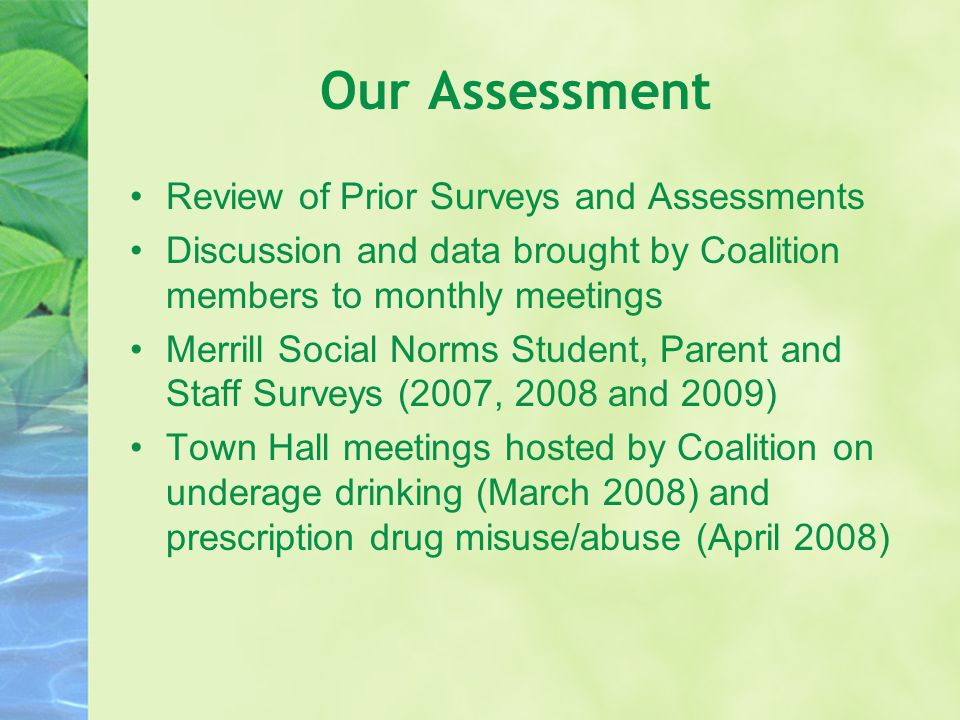 Our Assessment Review of Prior Surveys and Assessments Discussion and data brought by Coalition members to monthly meetings Merrill Social Norms Stude