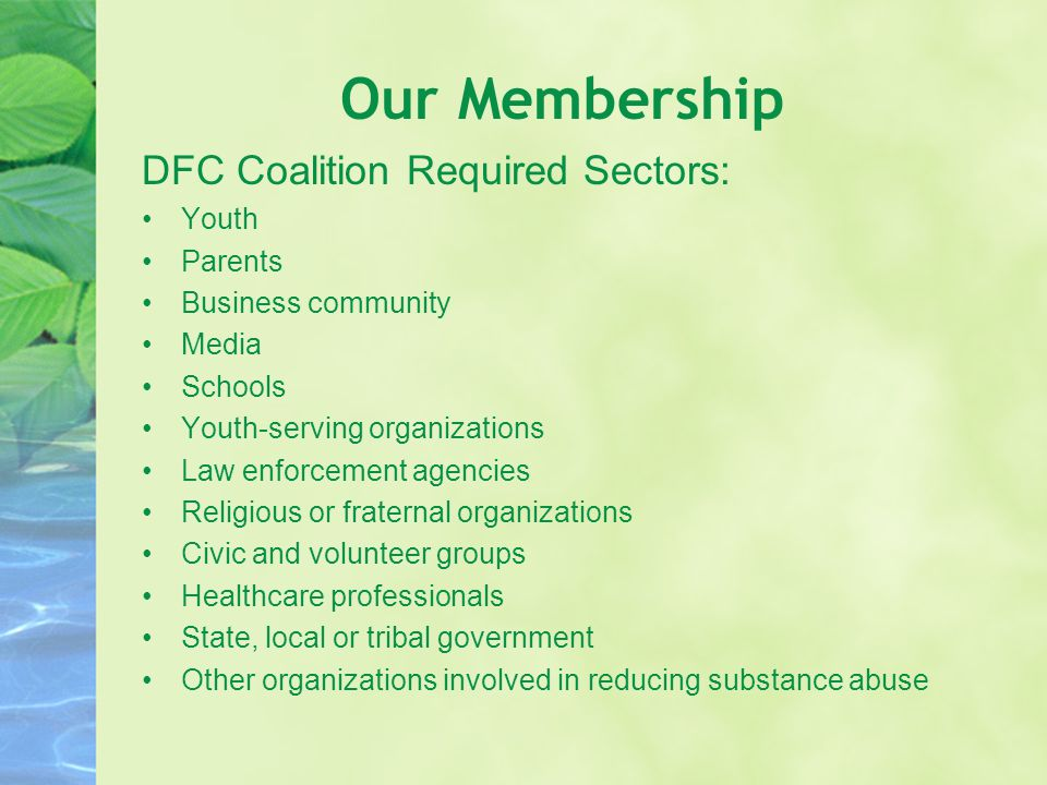 Our Membership DFC Coalition Required Sectors: Youth Parents Business community Media Schools Youth-serving organizations Law enforcement agencies Religious or fraternal organizations Civic and volunteer groups Healthcare professionals State, local or tribal government Other organizations involved in reducing substance abuse