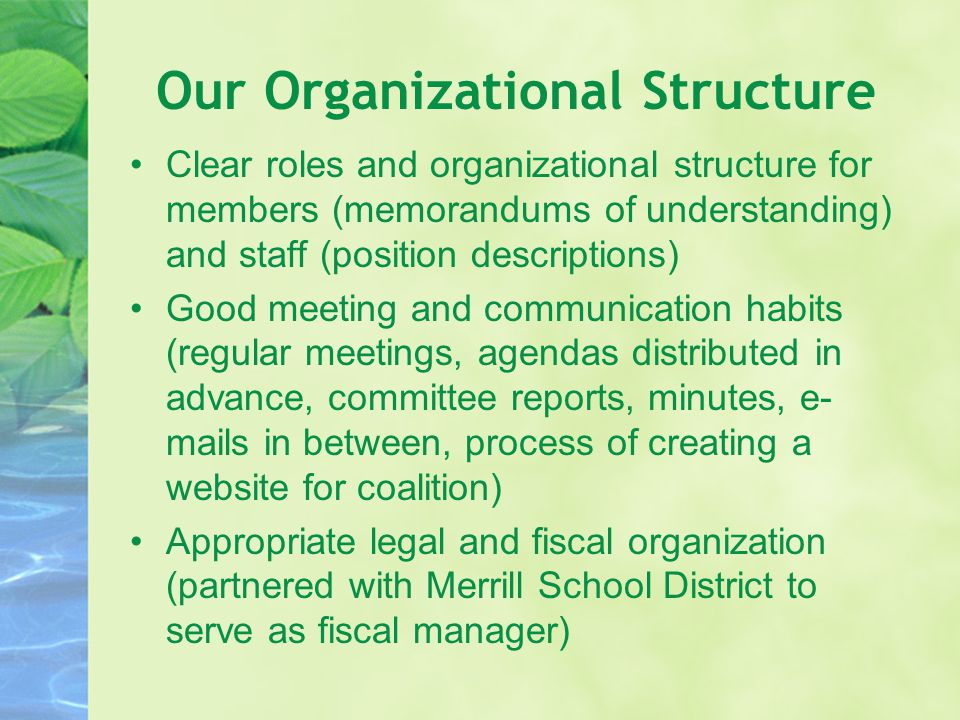 Our Organizational Structure Clear roles and organizational structure for members (memorandums of understanding) and staff (position descriptions) Goo