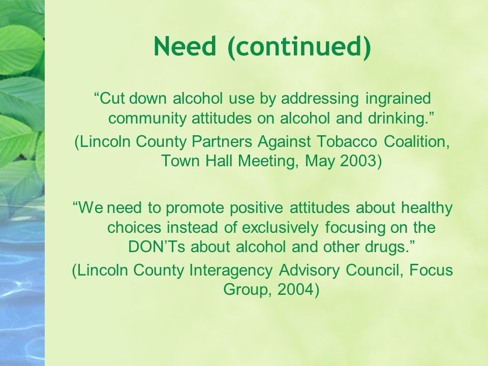 Need (continued) Cut down alcohol use by addressing ingrained community attitudes on alcohol and drinking. (Lincoln County Partners Against Tobacco Coalition, Town Hall Meeting, May 2003) We need to promote positive attitudes about healthy choices instead of exclusively focusing on the DON'Ts about alcohol and other drugs. (Lincoln County Interagency Advisory Council, Focus Group, 2004)