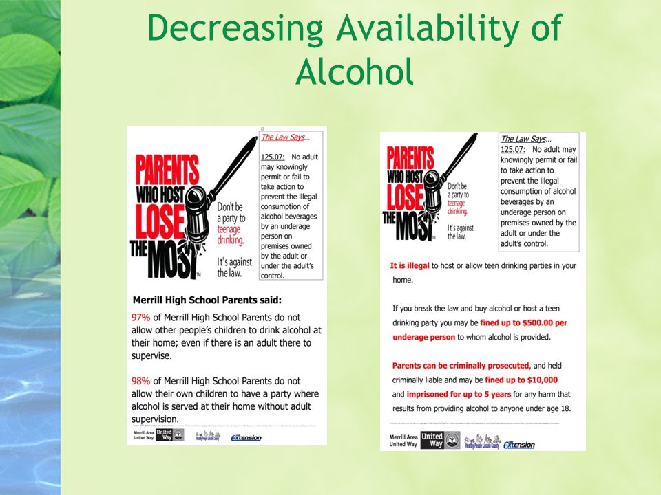 Decreasing Availability of Alcohol