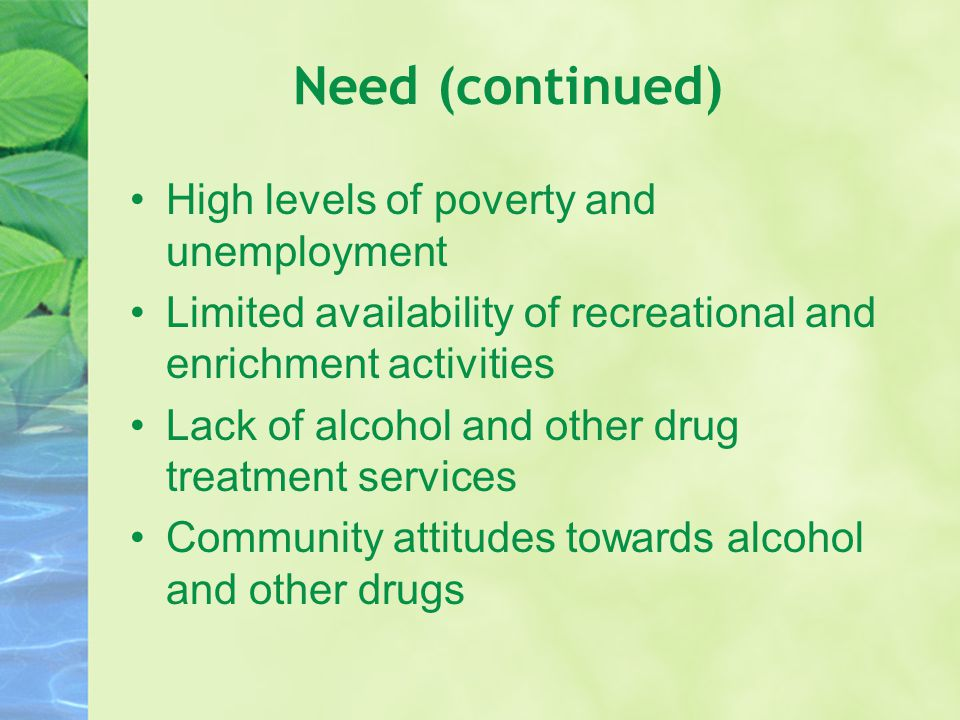 Need (continued) High levels of poverty and unemployment Limited availability of recreational and enrichment activities Lack of alcohol and other drug