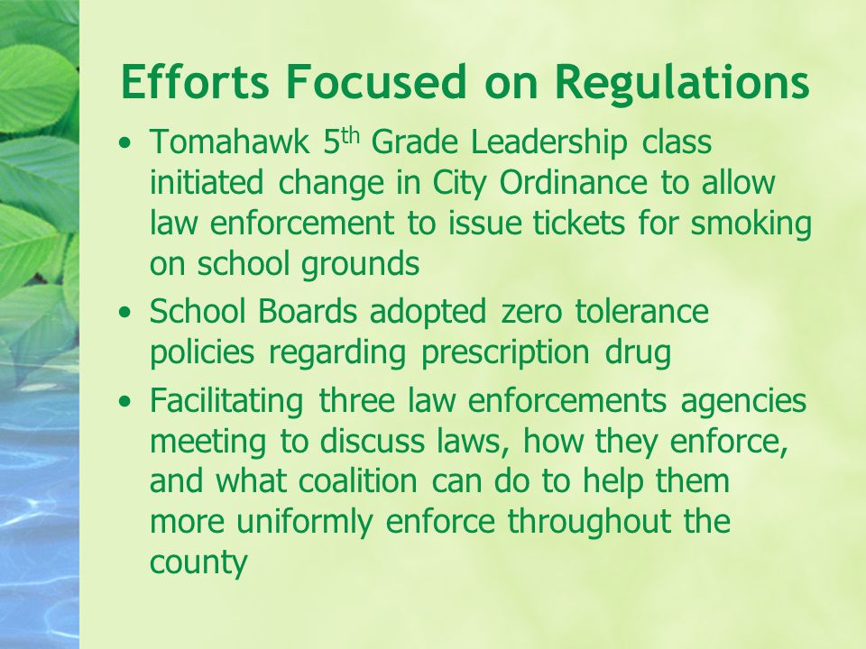 Efforts Focused on Regulations Tomahawk 5 th Grade Leadership class initiated change in City Ordinance to allow law enforcement to issue tickets for smoking on school grounds School Boards adopted zero tolerance policies regarding prescription drug Facilitating three law enforcements agencies meeting to discuss laws, how they enforce, and what coalition can do to help them more uniformly enforce throughout the county