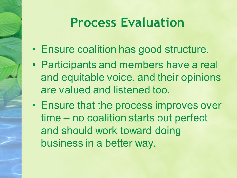 Process Evaluation Ensure coalition has good structure.