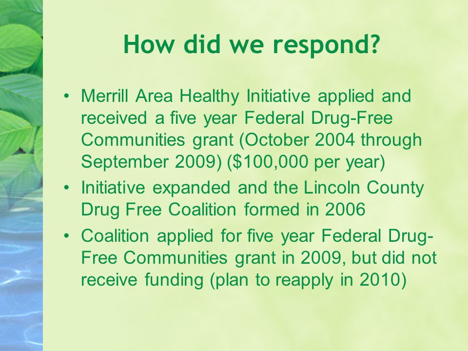How did we respond? Merrill Area Healthy Initiative applied and received a five year Federal Drug-Free Communities grant (October 2004 through Septemb