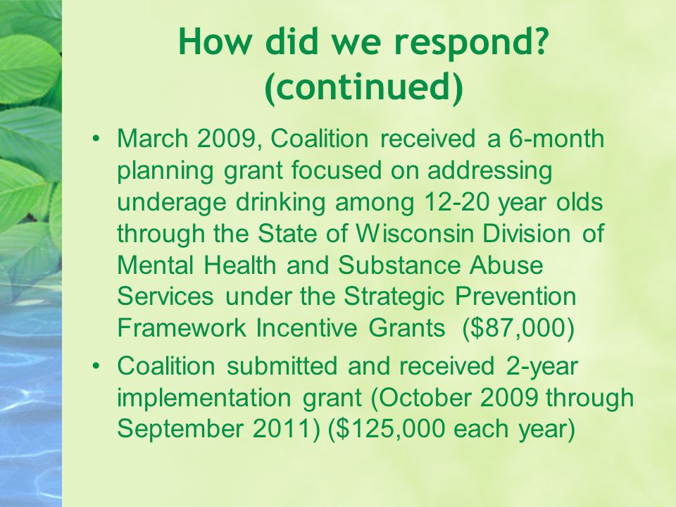How did we respond? (continued) March 2009, Coalition received a 6-month planning grant focused on addressing underage drinking among 12-20 year olds
