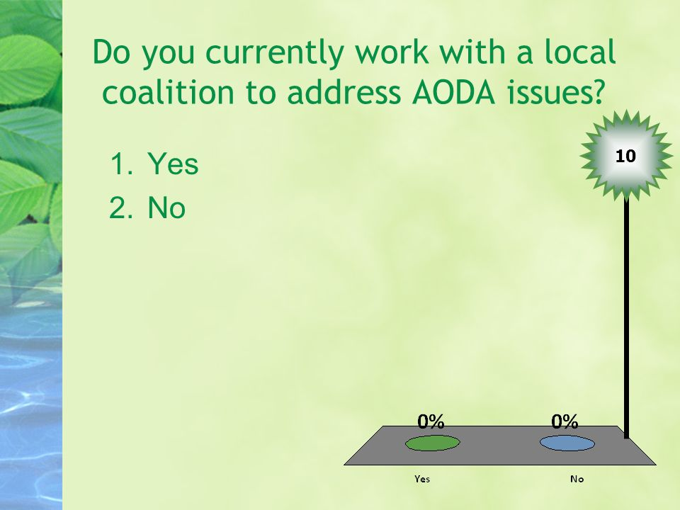 Do you currently work with a local coalition to address AODA issues? 1.Yes 2.No 10
