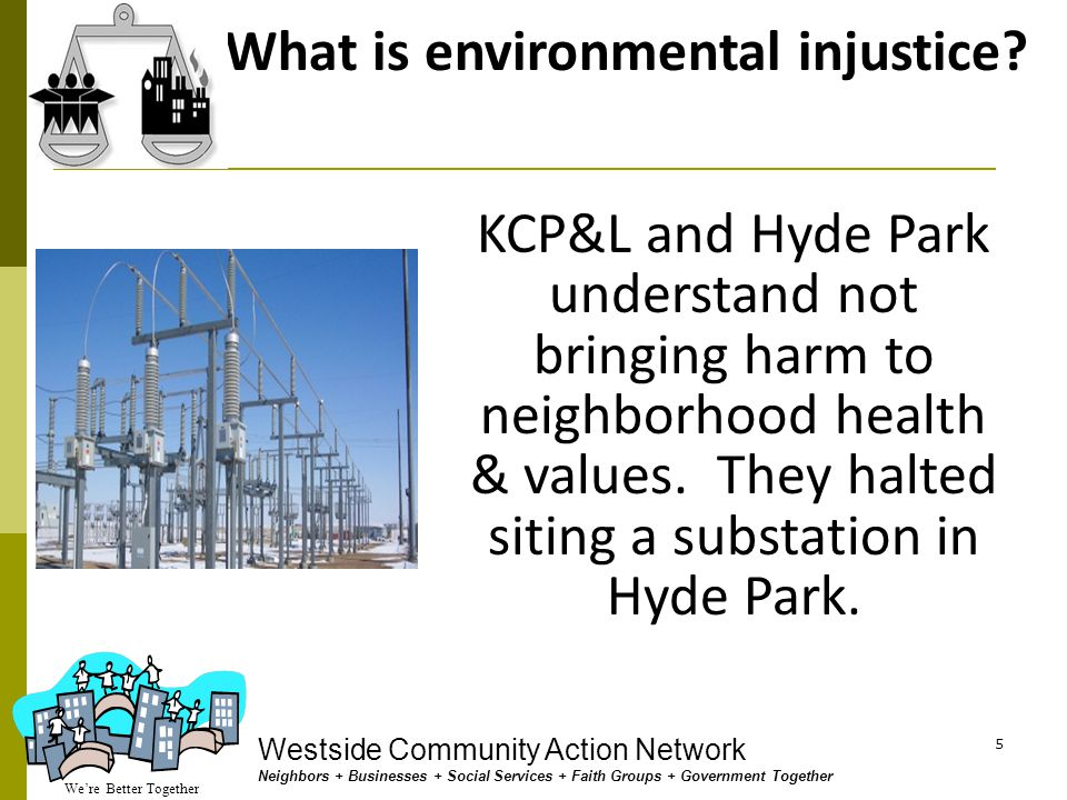 We're Better Together Westside Community Action Network Neighbors + Businesses + Social Services + Faith Groups + Government Together 15 Who needs to hear YOU say NO Substation on the Westside Michael Merriman Chairman & President Financial Holding Company 300 W 11th St Kansas City, MO 64105-1618 Thomas A.