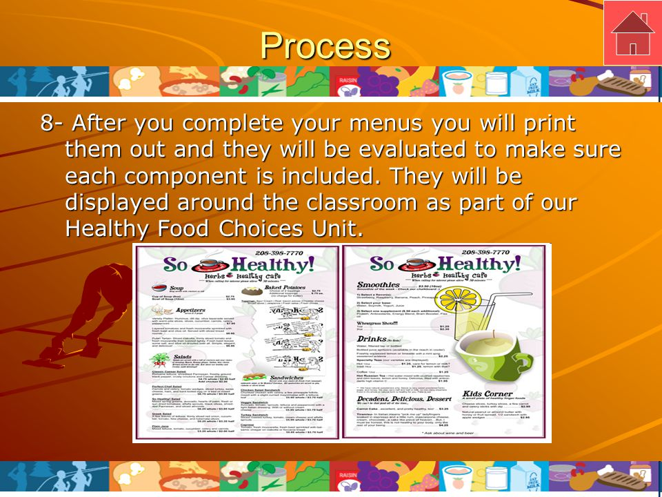 Process 8- After you complete your menus you will print them out and they will be evaluated to make sure each component is included.