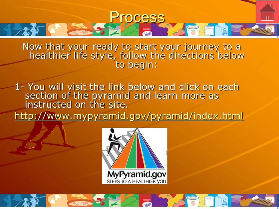 Process 2-After you have read through all of the information in the food pyramid you will click on the link below and apply your new knowledge and play an interactive game called Mypyramid Blast Off.