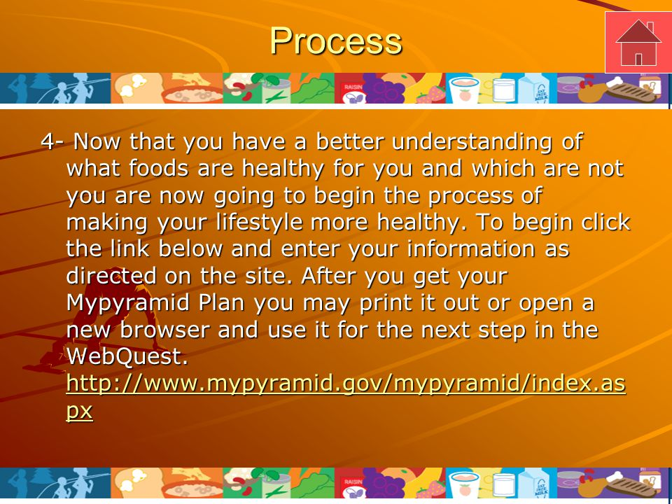 Process 4- Now that you have a better understanding of what foods are healthy for you and which are not you are now going to begin the process of making your lifestyle more healthy.